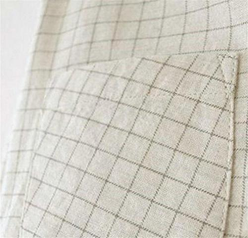 Fulok Womens Flannel Plaid Long Sleeve Button Down Beige