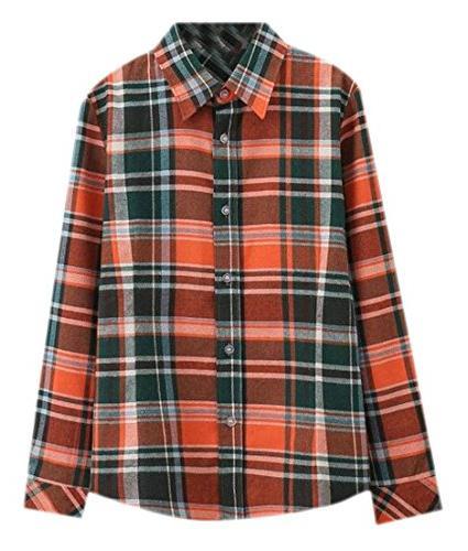 basic lapel flannel cotton plaid