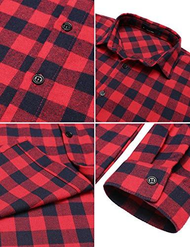 Zeagoo Sleeve Collared Plaid Tops