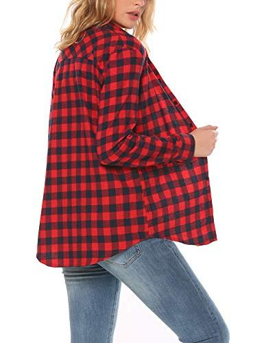 Zeagoo Womens Basic Collared Plaid