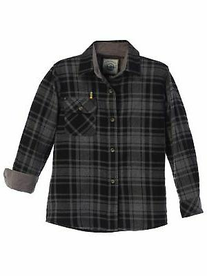 big boys charcoal black corduroy contrast flannel