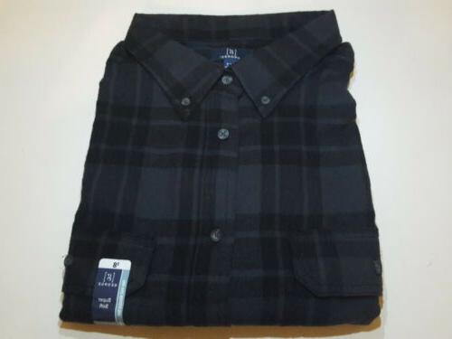 black and gray flannel shirt with reinforced