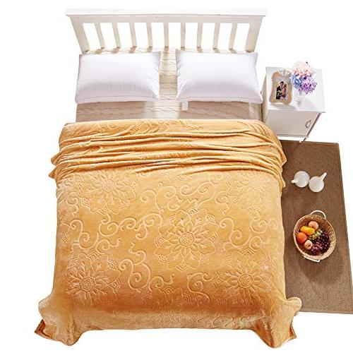 StrongSK Weighted Size Embossed Flannel Blankets Warm Coral Blanket Travel 200x230cm PCs