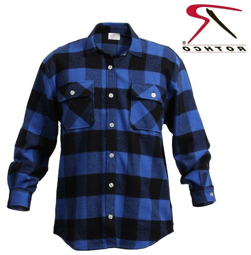 blue plaid heavyweight brawny buffalo plaid flannel