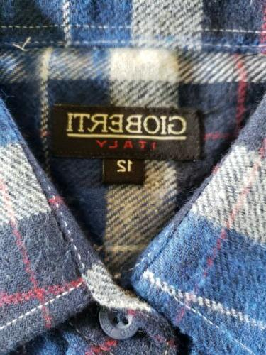 Boy's Size 12 Gioberti Long Plaid Shirt