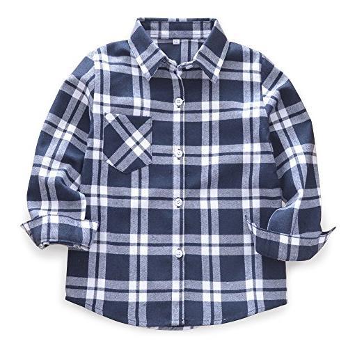 boys long sleeve button down plaid flannel