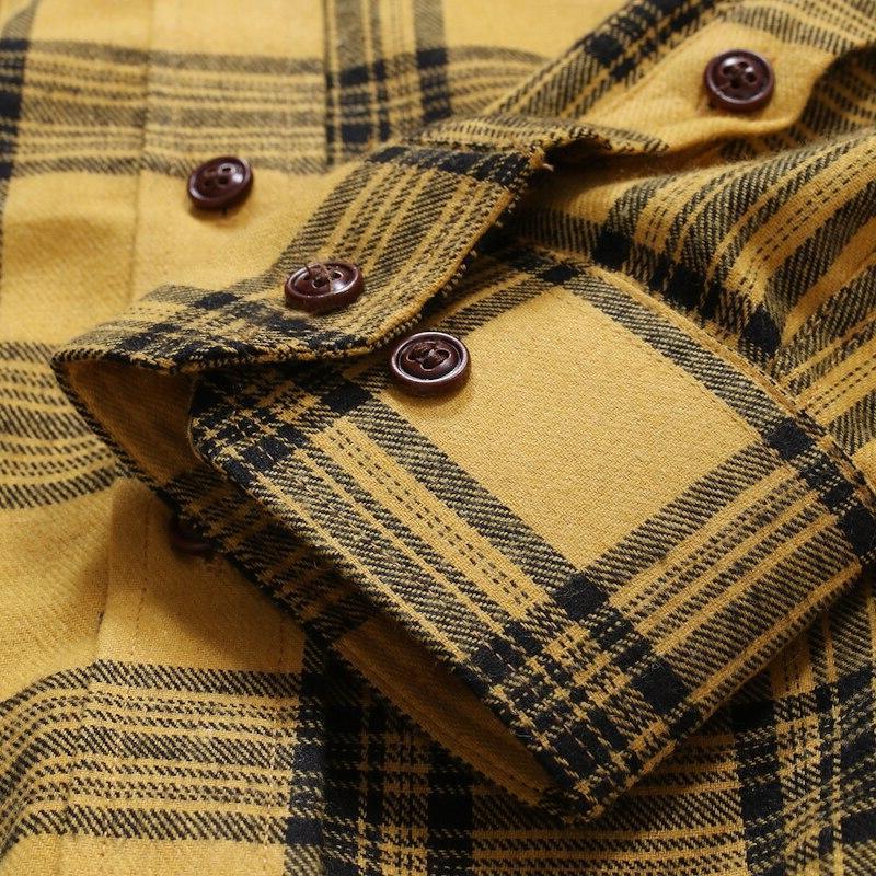 Brand Lapel 2019 <font><b>Flannel</b></font> Check Long Casual IT Man Cotton Hop Streetwear Slim
