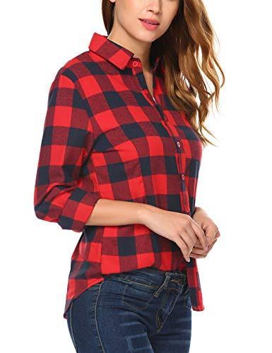Women's Check Long Sleeve Neck Shirts