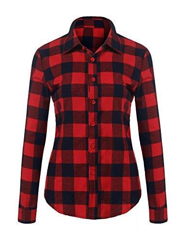 Women's Check Long Collar Casual Button Down Shirts Long Blouses
