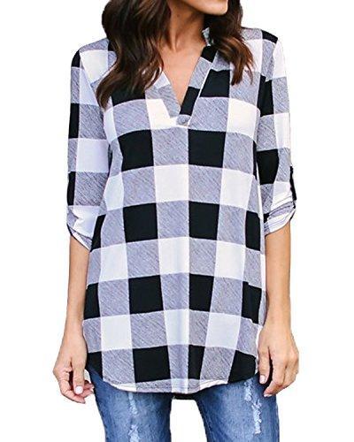 Plaid Shirts Neck Long Tops Black White XXL/US 12