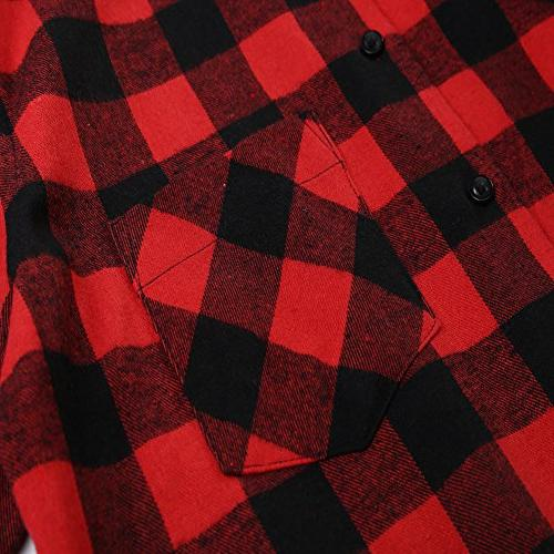 DOKKIA Button Buffalo Plaid Sleeve Flannel Shirts