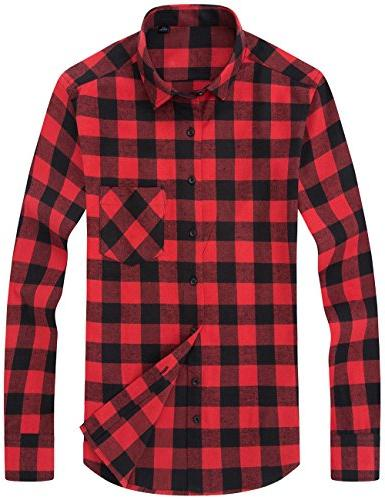 DOKKIA Men's Button Buffalo Plaid Sleeve Shirts