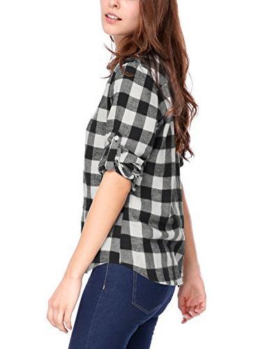 Allegra K Women's Button Up Collar Plaids Shirt Black
