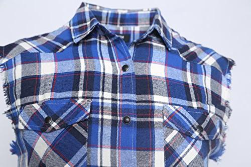 NUTEXROL Casual Flannel Plaid Shirt Plus Size Vest and White