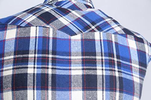 NUTEXROL Men's Plaid Shirt Plus and White M