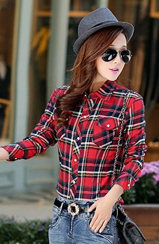 AvaCostume Womens Casual Winter Plaid Slim Blouse,