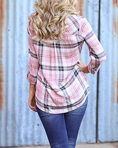 roswear Women's Cuffed Plaid Button Down Pink