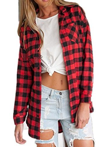 casual loose long sleeve plaid