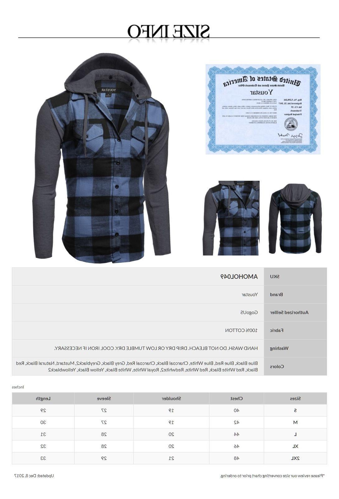 FashionOutfit Casual Plaid Check Detach Cotton Flannel Long Sleeve Shirt