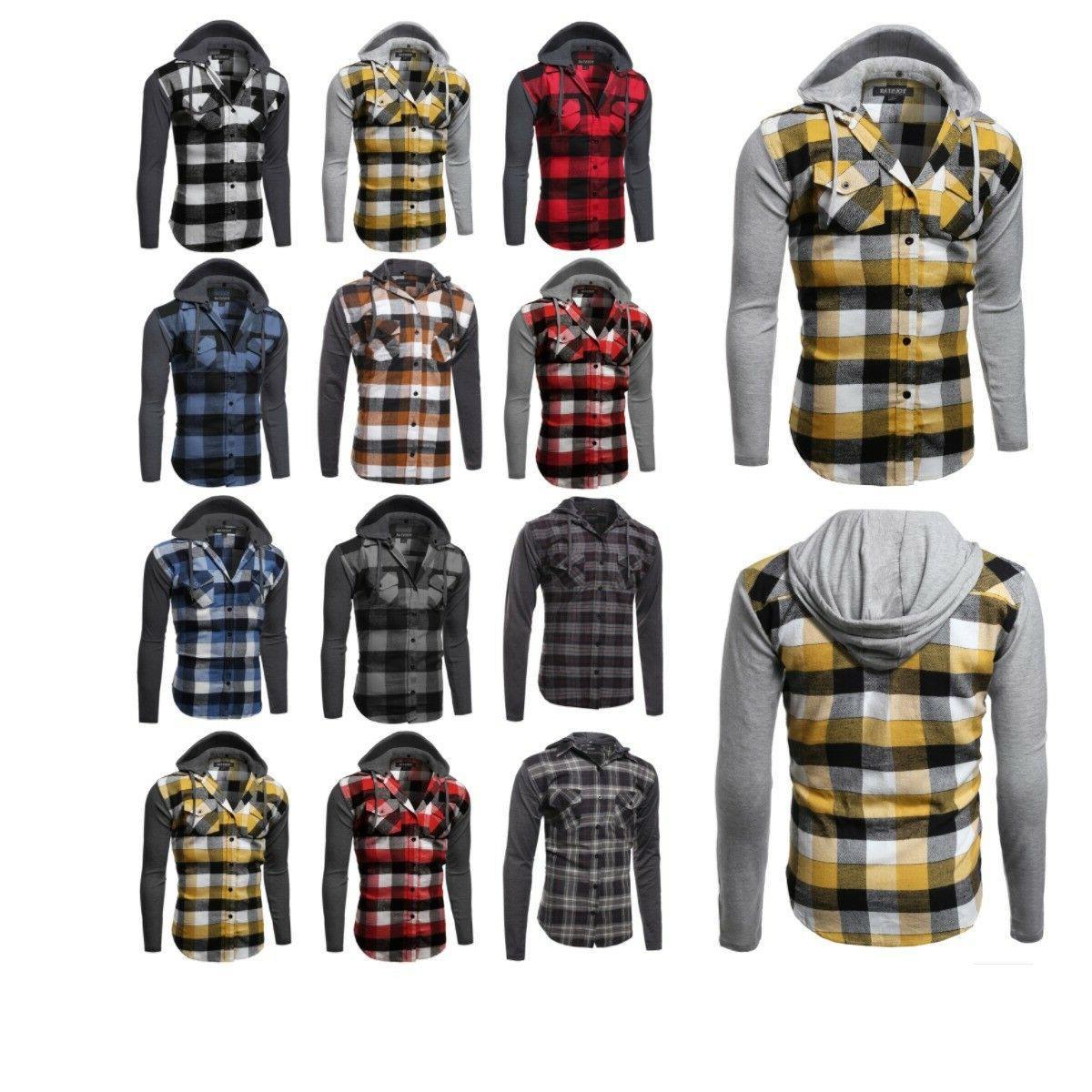 casual plaid check detach hoodie cotton flannel