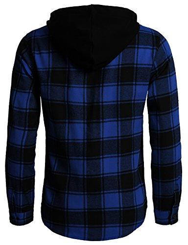 H2H Fit Flannel Shirts Hoodie Blue M/Asia