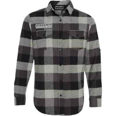 checkered flannel button up long sleeve mens