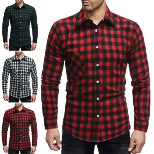 Classic Shirts Flannel Long Sleeve Work Dress Shirt Tops