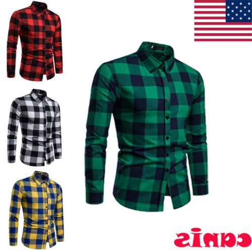 Classic US Men's Shirts Flannel Work Shirt Formal Tops
