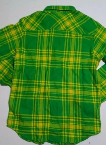 Columbia Collegiate Flannel LS Shirt Size Small Green yellow