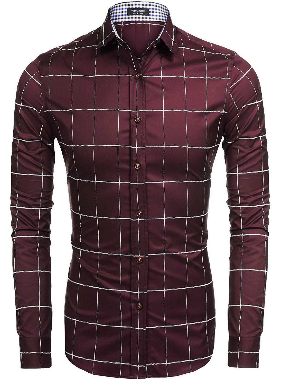 COOFANDY Fashion Sleeve Plaid Button Shirts Casual