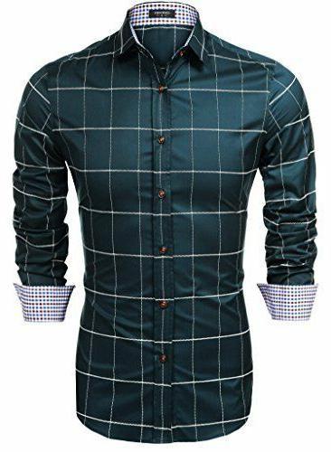 COOFANDY Sleeve Plaid Shirts Dress