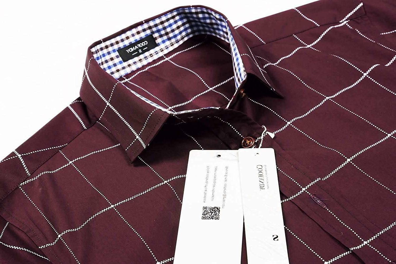 COOFANDY Men's Fashion Sleeve Plaid Button Down Shirts Casual