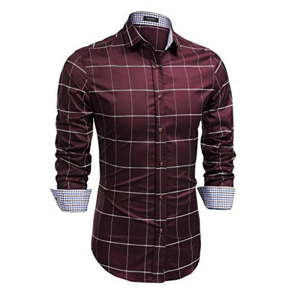 coofandy men s fashion long sleeve plaid