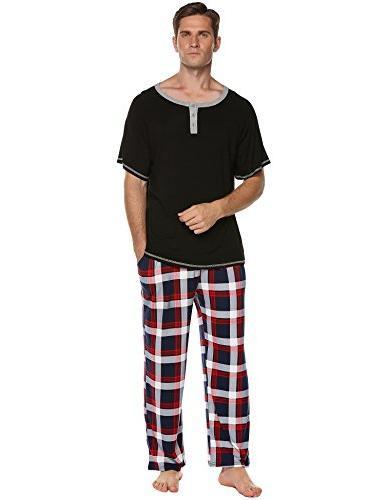 Ekouaer Mens Cotton Pajamas,O Long Set