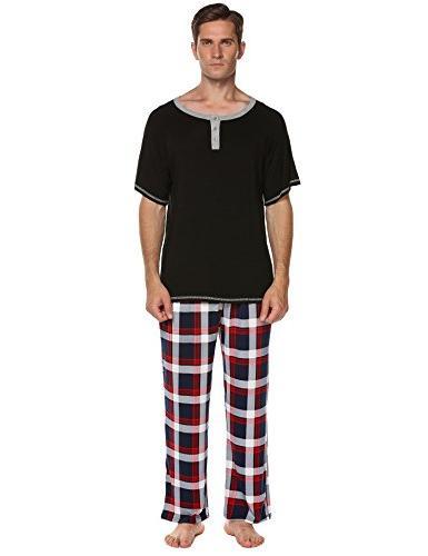 Ekouaer Solid Pajamas,O Neck Shirt Long Pants