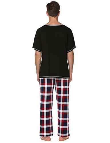 Ekouaer Mens Cotton Solid Pajamas,O Shirt Long Pj