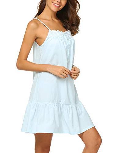 Ekouaer Cotton Nightgowns Crochet Pajama Dress