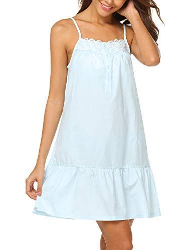 Ekouaer 100% Cotton Pajama Dress