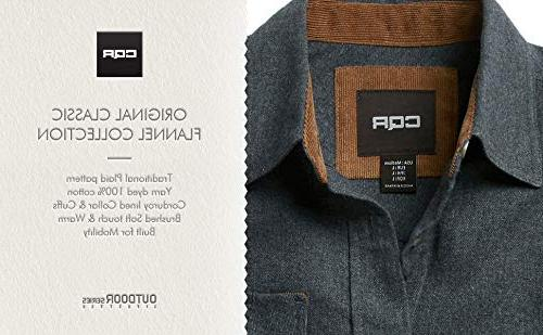 CQR CQ-HOF110-DGY_3X-Large Men's Flannel Long Sleeved Plaid 100% Cotton Brushed HOF110
