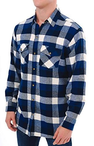 Alexander Rossa Mens Flannel Shirt, Long Large Blue Navy and White Plaid