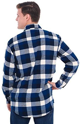 Alexander Del Rossa Flannel Shirt, Long Large Blue Navy