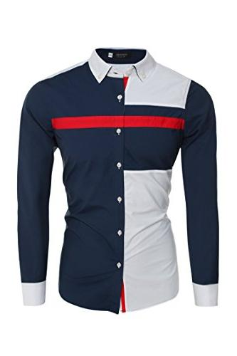 dress shirt long sleeve contrast