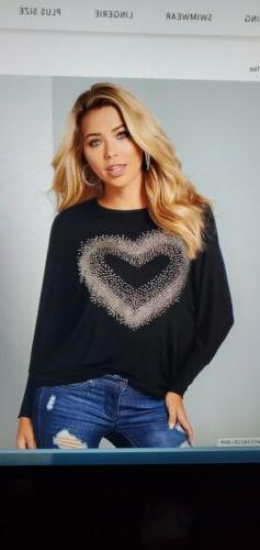 VENUS Embellished Heart Tee 2X NWOT