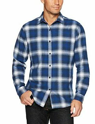 Essentials Regular-Fit Plaid Blue, Large