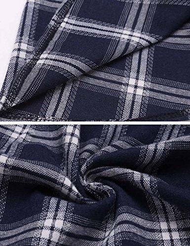 Beyove Women Fake Two Piece Long Sleeve Crop Top Button Shirts, Blue,