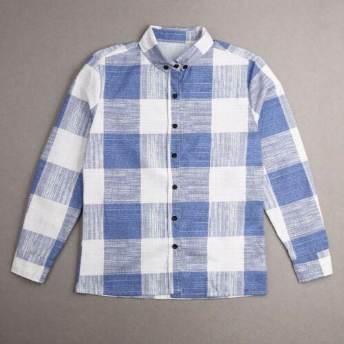 Fashion Linen Shirt Flannel Plaid Long