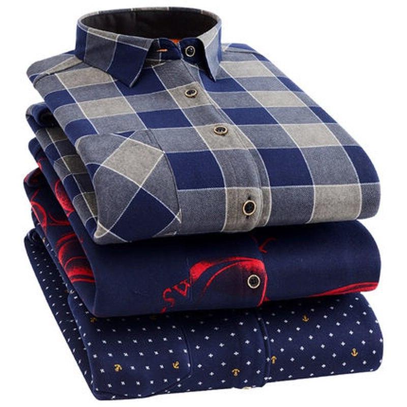 Fashion <font><b>Flannel</b></font> Warm <font><b>Shirts</b></font> Work <font><b>Shirts</b></font> Casual Fit Camisa Social <font><b>4XL</b></font>
