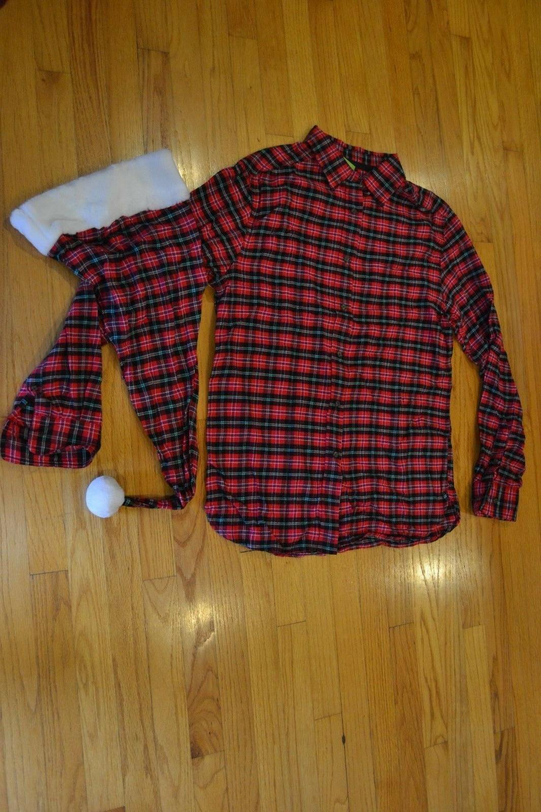 Flannel Button Down Shirt & Matching Santa Hat Men's Size Me