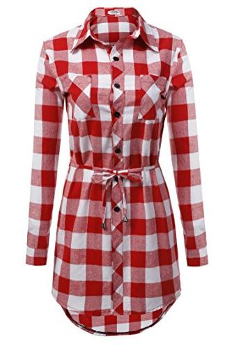 flannel casual long sleeve button