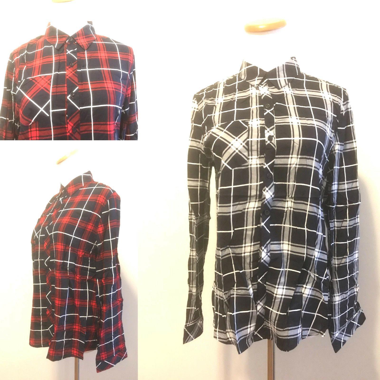 flannel check plaid lapel shirt button down